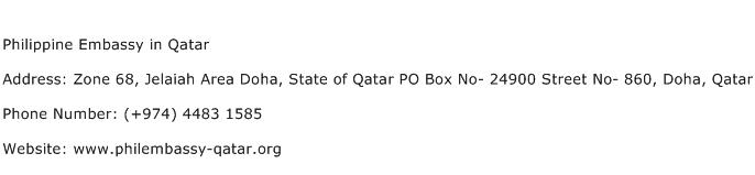 Philippine Embassy in Qatar Address Contact Number of Philippine