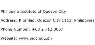 Philippine Institute of Quezon City Address Contact Number