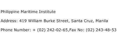 Philippine Maritime Institute Address Contact Number