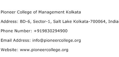 Pioneer College of Management Kolkata Address Contact Number