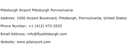 Pittsburgh Airport Pittsburgh Pennsylvania Address Contact Number