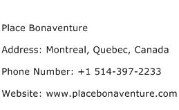 Place Bonaventure Address Contact Number