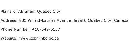 Plains of Abraham Quebec City Address Contact Number