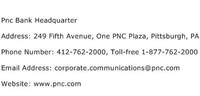 Pnc Bank Headquarter Address Contact Number