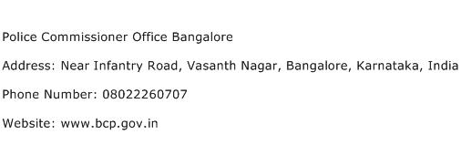 Police Commissioner Office Bangalore Address Contact Number