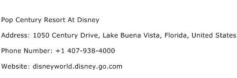Pop Century Resort At Disney Address Contact Number