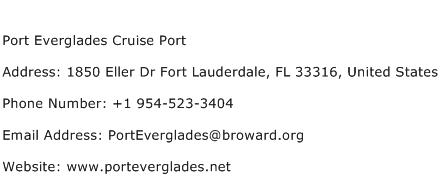 Port Everglades Cruise Port Address Contact Number