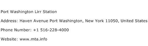 Port Washington Lirr Station Address Contact Number