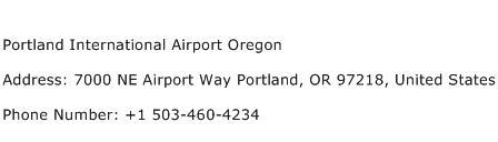 Portland International Airport Oregon Address Contact Number