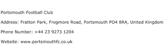 Portsmouth Football Club Address Contact Number