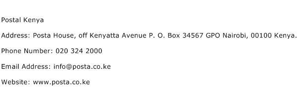 Postal Kenya Address Contact Number