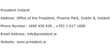 President Ireland Address Contact Number