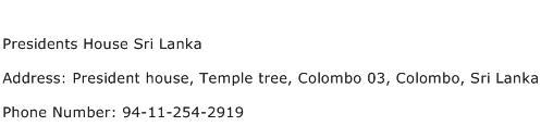 Presidents House Sri Lanka Address Contact Number