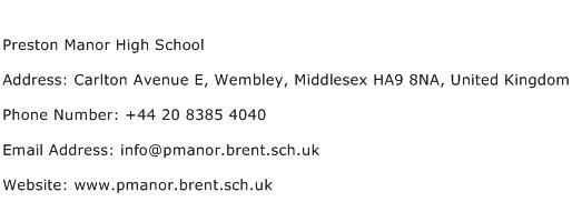 Preston Manor High School Address Contact Number