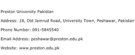 Preston University Pakistan Address Contact Number