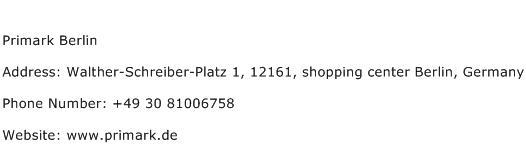 Primark Berlin Address Contact Number