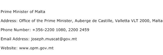 Prime Minister of Malta Address Contact Number