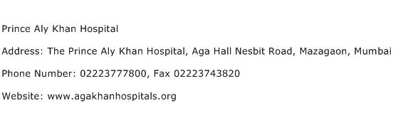 Prince Aly Khan Hospital Address Contact Number
