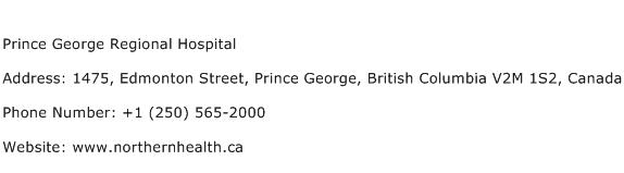 Prince George Regional Hospital Address Contact Number