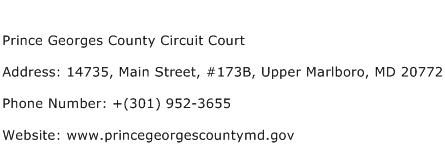 Prince Georges County Circuit Court Address Contact Number