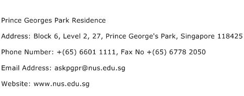 Prince Georges Park Residence Address Contact Number