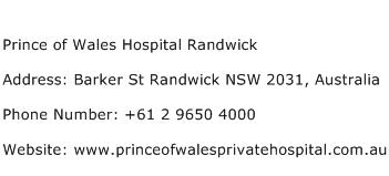 Prince of Wales Hospital Randwick Address Contact Number