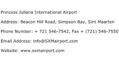 Princess Juliana International Airport Address Contact Number