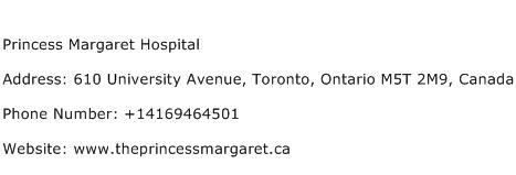 Princess Margaret Hospital Address Contact Number