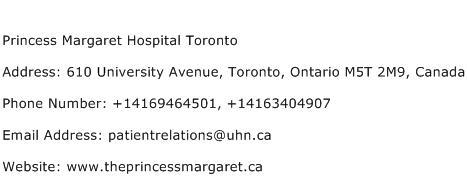 Princess Margaret Hospital Toronto Address Contact Number