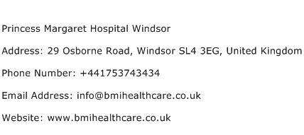 Princess Margaret Hospital Windsor Address Contact Number