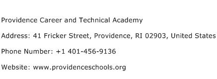 Providence Career and Technical Academy Address Contact Number
