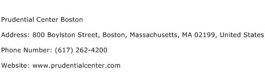 Prudential Center Boston Address Contact Number