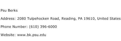 Psu Berks Address Contact Number