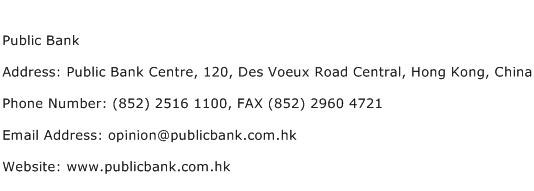 Public Bank Address Contact Number