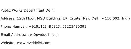 Public Works Department Delhi Address Contact Number