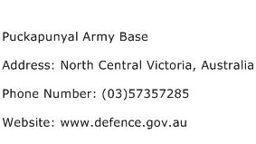 Puckapunyal Army Base Address Contact Number