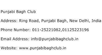 Punjabi Bagh Club Address Contact Number