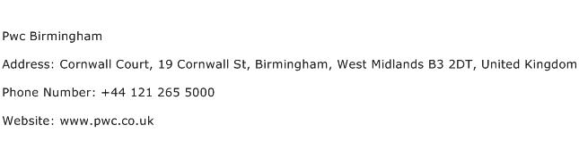 Pwc Birmingham Address Contact Number