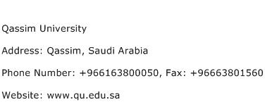 Qassim University Address Contact Number