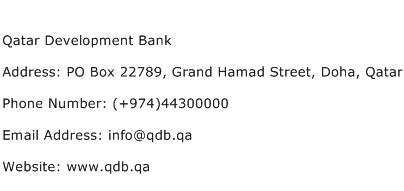 Qatar Development Bank Address Contact Number