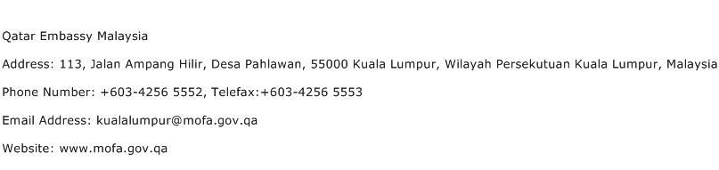 Qatar Embassy Malaysia Address Contact Number