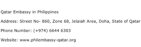 Qatar Embassy in Philippines Address Contact Number