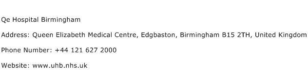 Qe Hospital Birmingham Address Contact Number