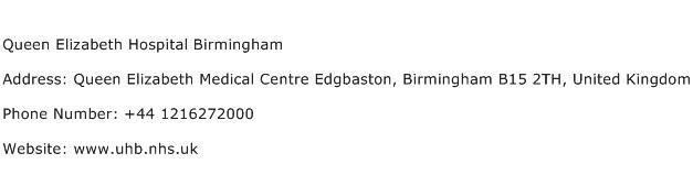 Queen Elizabeth Hospital Birmingham Address Contact Number