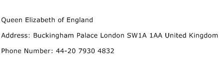 Queen Elizabeth of England Address Contact Number