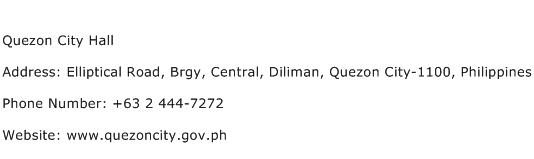 Quezon City Hall Address Contact Number