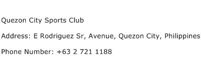 Quezon City Sports Club Address Contact Number