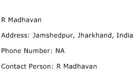 R Madhavan Address Contact Number