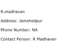 R.madhavan Address Contact Number