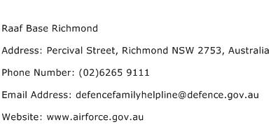 Raaf Base Richmond Address Contact Number